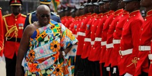 Ghana's new President Nana Akufo-Addo inspects a military parade after the swearing in ceremony at Independence Square in Accra, Ghana  January 7, 2017. REUTERS/Luc Gnago - RC1BA44FAA70